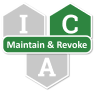 Three hexagons with the letters I, C, and A. The C is highlighted in green for Credential Management, with a green banner for the Maintenance and Revocation services.